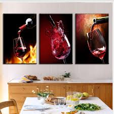 Dining Room Painting Aliexpress Com Buy 3 Pieces Modern Spray Canvas Painting Pour