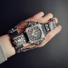 black leather skull bracelet images Hot new men punk skull black leather bracelet wrist watches with jpg