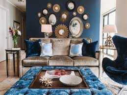 Mirrors In Living Room Decoration Charming Dark Blue Lounge Chair Gold Theme Sofa With