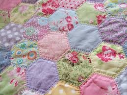pretty hexagons love how this is hand quilted hexies