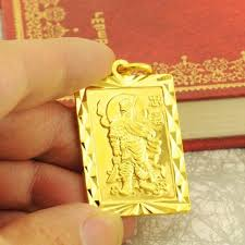 yellow gold pendant necklace images 18k solid gold pendant men 39 s loyalty guan gong guan er ye square jpg