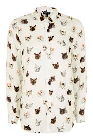 cat blouse sleeve multi cat print shirt tops clothing topshop