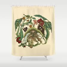 Botanical Shower Curtains Botanical Bulldog Shower Curtain By Huebucket Society6