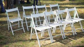 Wooden Wedding Chairs Wedding Aisle Decor White Wedding Chairs Outdoor Stock Footage