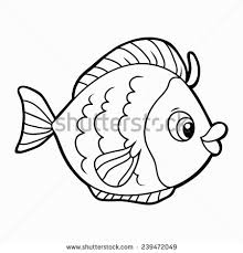 vector illustration cartoon fish coloring book stock vector