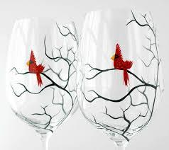 christmas cardinal wine glasses set of 2 hand painted