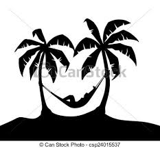 drawings of island with two palm trees and hammock csp24015537