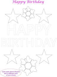 happy birthday card coloring page for kids