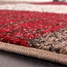 Wohnzimmer Rot Braun Designer Teppich Muster Karo Creme Rot Braun Meliert Wohn Und