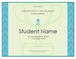 certificate of excellence for student office templates