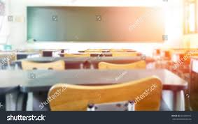 classroom blur background without young stock photo