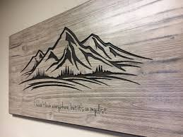mountain wall art wood carved wall art mountain decor