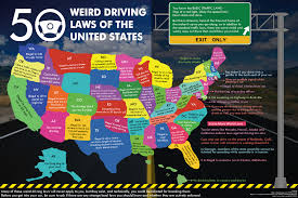 Map Of The 50 United States by 50 Weird Driving Laws Of The United States Infographic