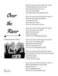 Halloween Poems Kindergarten Over The River U0027 The Children U0027s Thanksgiving Song Famlii