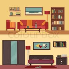 home interior vector vector flat illustration banners set abstract isolated for rooms