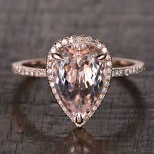 morganite pear engagement ring pear shaped morganite gold ring halo band engagement