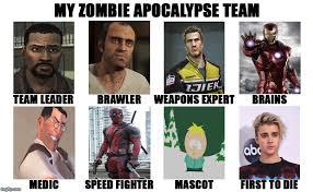 Zombie Team Meme - my zombie apocalypse team v2 memes imgflip