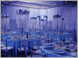 blue centerpieces wedding decoration ideas small covered chairs and white flower