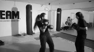 kickboxing with sanaa bouzeryouh in the gym basement youtube