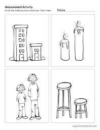 free printable worksheets on measuring sizes tall and short
