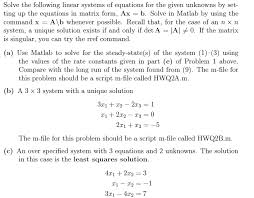 solve the following linear systems of equations fo