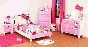 Hello Kitty Hanging Decorations Bedroom Pale Carmine Girls Bedroom With Floral Pattern Wallpaper