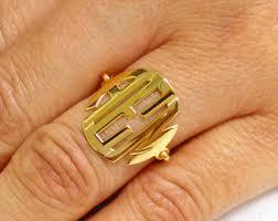 Gold Monogram Ring 14k Monogram Ring