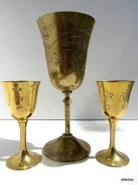 vtg chalice brass goblet ornaments engraved goblet cup brass