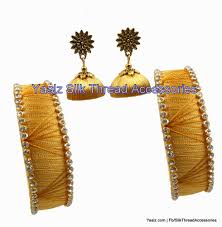 jhumka earrings gold yaalz simple kada bangles pair with jhumka earring in gold color