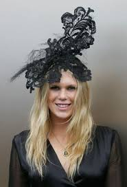 lace fascinator black vintage hat embellished with pearls white feather