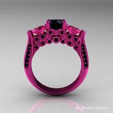 pink wedding rings 14k pink gold three black diamond pink sapphire solitaire