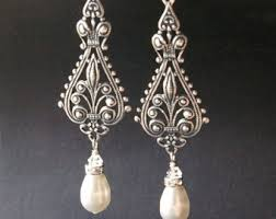 vintage wedding earrings chandeliers vintage bridal earrings silver filigree earrings antiqued