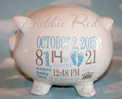 Monogram Piggy Bank Personalized Piggy Bank Baby Boy Piggy Bank Baby Birth Stats
