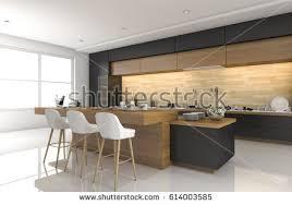 3d rendering modern black kitchen wood stock illustration