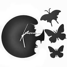 black wall clock decor home large butterfly tatoo