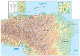 Topographic Map Of Usa by Large Detailed Physical And Topographic Map Of Honduras Honduras