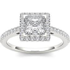 walmart white gold engagement rings imperial 1 1 4 carat t w princess cut single halo 14kt