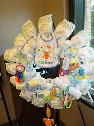 Home Made Decoration Diaper Wreath Homemade Baby Shower Decoration Ive Done This