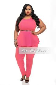 final sale plus size 2 piece set with peplum top and long pants in