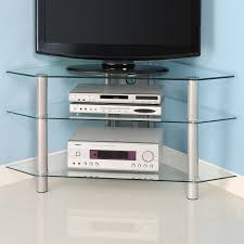 simple cool glass corner tv stands with stainless steel legs ideas