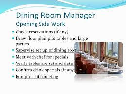 Dining Room Manager September 19 Front Of The House Rules Of Service