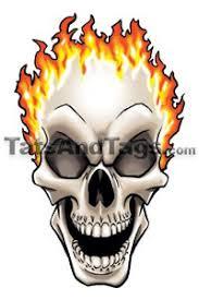 flaming skull temporary designs by custom tags