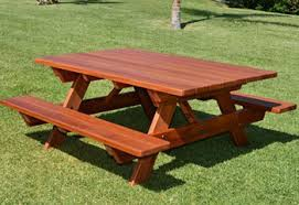 Patio Table And Bench Redwood Tables U0026 Patio Furniture Forever Redwood