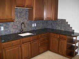 Tile Backsplash Ideas For Cherry Wood Cabinets Home by Kitchen Interesting L Shape Kitchen Decoration Using Dark Grey