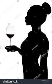 wine silhouette silhouette woman holding wineglass stock photo 301287902