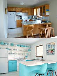 a budget friendly turquoise kitchen makeover dans le lakehouse before and after budget friendly aqua kitchen makeover