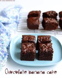 eggless chocolate banana cake with wheat flour raks kitchen