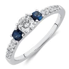 three stone engagement rings stone engagement ring with sapphire u0026 1 2 carat tw of diamonds in