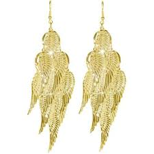 gold dangle earrings angel wing dangle earrings gold or silver 5 99 shipped