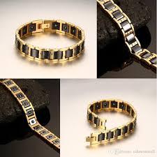 magnetic gold bracelet images 2018 mens bracelets 2017 black gold color 20cm stainless steel jpg